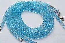 SUPER FINE QUALITY NATURAL BLUE TOPAZ FACETED 5-8MM ROUND BEADS NECKLACE 17""
