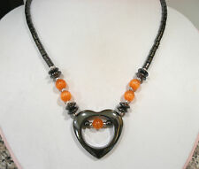 "HEMATITE ORANGE CATS EYE BEADED HEART PENDANT NECKLACE MAGNETIC CLASP 18""LONG"
