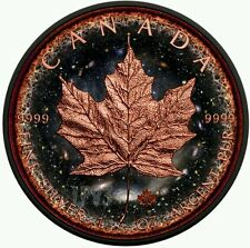 2016 1 oz $5 Fine Silver Maple Leaf Coin - Ruthenium Finish and Rose Gold Gildin