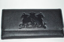 CHEVAUX genuine leather women clutch wallet with double horse logo