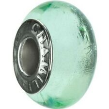 Authentic Chamilia Element Charm Sterling Silver 'Green' Bead Murano Glass O-70