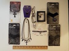 9-lot-gothic halloween necklaces-new-used-black crosses-skull-bat-choker-velvet