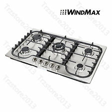 "US Seller ~ WindMax 34""  Stainless Steel 5 Burner Built-In Stoves Gas Cooktops"