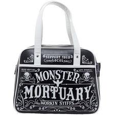 Sourpuss Workin Stiffs Bowler Purse Black Skulls Webs Coffin Goth Monster