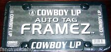 Cowboy Up Black Sturdy Plastic License Plate Frame Auto Tag Frame