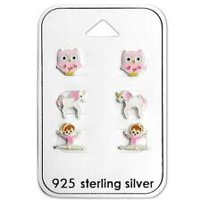 Children's Set Sterling Silver Earrings - Gymnast - Unicorn Horse - Pink - Owl