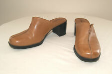 Clarks Butterscotch Leather Mules Clogs Heels Shoes - Size  5 1/2 M