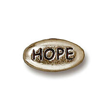 RHODIUM PLATED PEWTER HOPE MESSAGE WORD BEAD 4 BEADS PB28