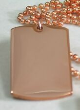 SOLID PURE COPPER HEAVY DUTY POLISHED DOG TAG NECKLACE PENDANT FREE ENGRAVE