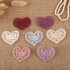 14 x Vintage Flower Heart Crochet Lace Sew On Fabric Motifs Patches Sewing