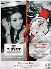 Publicité advertising 2011 La Montre Tissot Lady Heart avec Barbie Xu