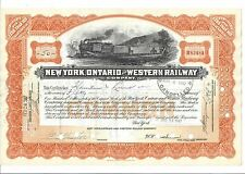 NEW YORK, ONTARIO AND WESTERN RAILWAY COMPANY.....1947 STOCK CERTIFICATE