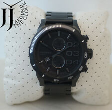 """New DIESEL """"Double Down"""" Blackout Stainless Steel Chrono Men's Watch NEW DZ4326"""
