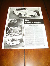 GRIFFITH SERIES 400 289 V-8 TVR SPORTS CAR ***ORIGINAL 1990 ARTICLE***