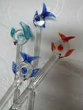 Handmade Glass Swizzle Sticks Set  4 Stir Sticks Tropical Fish Sealife Ornaments