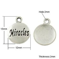 Word Charms Pendants Quote Charms Inspirational Miracles Antiqued Silver