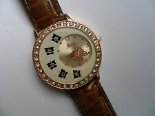 Very Unusual Ladies Crystal Butterfly Quartz Watch Brown Strap b