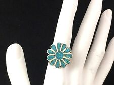 Vintage Native American Sterling Silver Turquoise Inlay Flower Ring