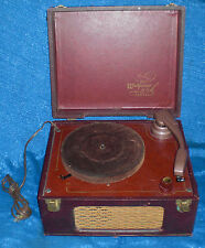 "WEBCOR Lark ""Fonograf"" Antique Record Player Tweed Wicker Grill AS-IS Restore GC"