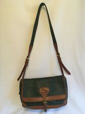 Vtg DOONEY & BOURKE 'CARRIER' Green Leather Satchel Crossbody Bag Tote Purse USA