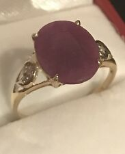 4.90CT NATURAL RUBY AND DIAMOND RING IN 10k YELLOW GOLD