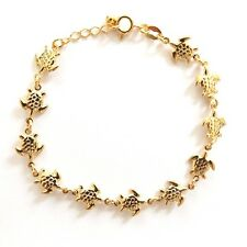 GOLD PLATED HIGH QUALITY NICKLE FREE CHARM BRACELET TURTLE TORTUGA ADJUSTABLE