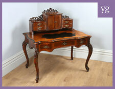 Antique French Walnut Bonheur Du Jour Office Bureau Plat Writing Table Desk