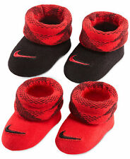 Nike Air Newborn Infant Booties Red Black Baby's Size 0 - 6 Months 2 Pair New