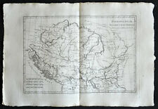 BOSNIE, CROATIE, HONGRIE carte geographique ancienne, old antique map 1787