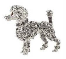 Kenneth Jay Lane Kjl New Clear Pave Crystals Miniature French Poodle Dog Pin