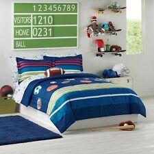 Sports Football Basketball Baseball Boys Twin Comforter Set (5 Piece Bed In Bag)