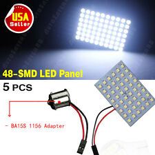 5X Cool White Car RV Trailer 1156 BA15S Adapter +48-SMD Map/Dome Panel LED Light
