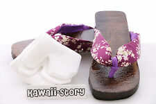 K-G-08 Geta purple Japanese Wood Sandal Socks for Kimono Yukata 9 3/5in/Size 38