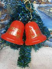Vintage Blue Green Tinsel LIGHTED Merry Christmas Bell Decoration NICE ( 1018)