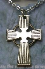 Irish Celtic Cross Necklace in Antique Silver Plate, St Patrick's Day, USA, NEW