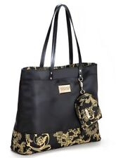 Versace black gold vine Tote Purse Travel shopper shoulder Handbag set coin bag