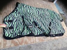 "81"" green zebra 600 D Tough 1 med/heavyweight waterproof horse turnout blanket"