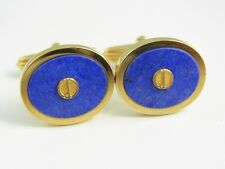 dunhill Gold Plated and Lapis Blue Circle Cufflinks