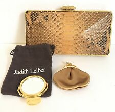 Judith Lieber Snakeskin And Crystal Clutch