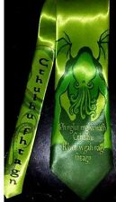 L@@K! Cthulhu Necktie Green Satin - HP Lovecraft Cthulhu fhtagn