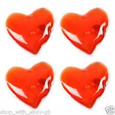 4 X RED LOVE HEART GEL HAND WARMERS - REUSABLE INSTANT HEAT PACK - VALENTINES