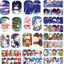 12 Sheets Xmas Elk Santa Claus Snowman Water Transfer Nail Art Sticker 114152#