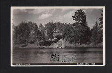 Cable Wisconsin WI c1940s RPPC Sam's Place Resort Lakeside Log Cabin, Stairway