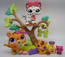 LITTLEST PET SHOP ORANGE TIGER DAD KITTY BABY CUB BLACK WHITE SABERINA CUTE LOT