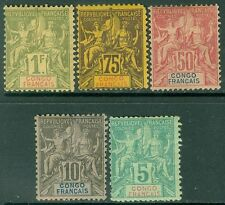 FRENCH CONGO : 1892. Yvert #15/24. 5 Better values. 75¢ MNG others MOGH Cat €217