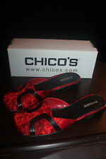 CHICOS 9M SLIDES Oriental ASIAN CHINESE RED BLACK