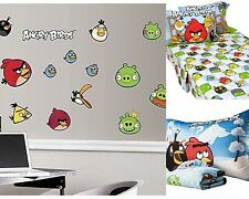 NEW ANGRY BIRDS 200 TC 3PC TWIN SHEET SET 2PC MICRO MINK SET & WALL DECALS 6 PC