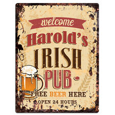 PMBP0044 HAROLD'S IRISH PUB Rustic tin Sign PUB Bar Man cave Decor Gift