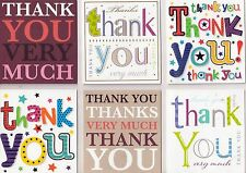 24 Various Thank-You Notelet Cards, Postcards & Envelopes. Word designs. Greetin