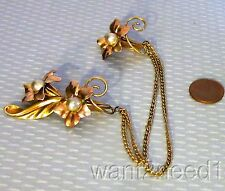 vtg designer BAL-RON GF CHATELAINE PIN retro rose goldfilled double iris flowers